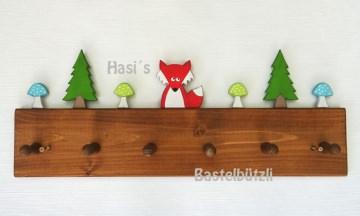Sofort verfügbar ! Kinder-Garderobe braun ♡ WALD ♡ aus Holz, Hakenleiste