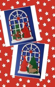 handgefertigtes Fensterbild aus Tonkarton: Der Weihnachtsmann kommt