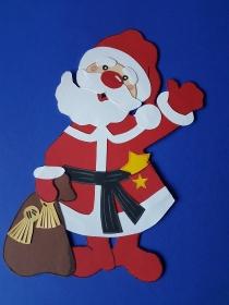 handgefertigtes Fensterbild aus Tonkarton: Weihnachtsmann / Nikolaus mit Sack