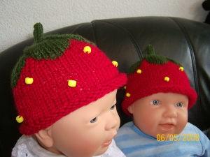 Erdbeermütze Baby Kinder Reborn´s Puppen (38-42)
