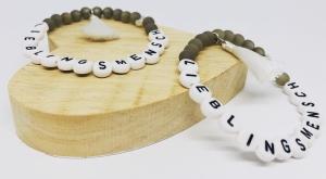 Handgefertigtes Armband ♡ Lieblingsmensch ♡ weiße Quaste ♡ Herz ♡ - Handarbeit kaufen