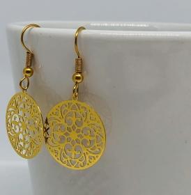 Filigrane Ohrringe im Boho Stil Goldfarben  - Handarbeit kaufen