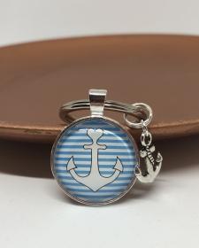 Schlüsselanhänger Glas Cabochon mit Anker Motiv und Anker Anhänger, Maritim  gestreift