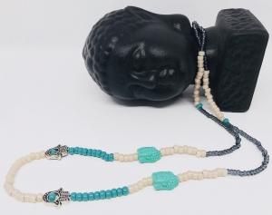 Halskette mit türkisfarbenen Buddhaköpfen, Hamsa Perlen und Miyuki Rocialles Perlen in rosa, türkis und schwarz - Handarbeit kaufen