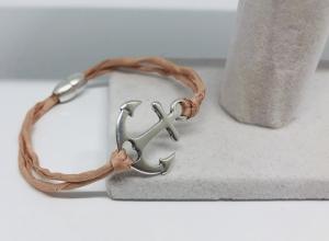 Maritimes Armband, Armband aus einem Seidenband und einem Anker Anhänger mit Magnetverschluss hellrosa