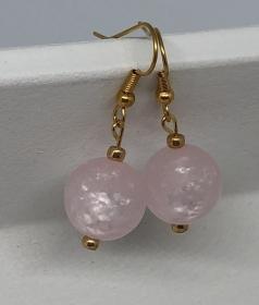 Ohrringe aus glänzenden Polaris Perlen  rose