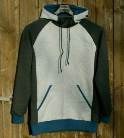 Männer-Hoodie  ERICH  grau Sweatshirt  Gr. M warm angeraut