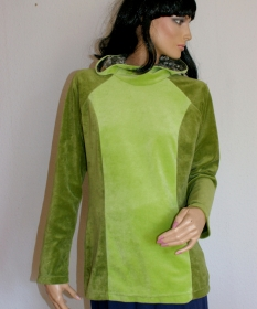 gemütlicher Nicki-Hoodie grün Gr.S Longshirt Kapuze Unikat handgenäht - Handarbeit kaufen