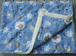 Kuscheldecke ZIRKUS  Baumwoll-Teddy Babydecke Kinderwagen Mädchen Junge blau weiß