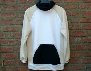 Männer-Pullover LASSE leichter Sweat Gr. M beige schwarz weiß Rollkragen Tasche leger bequem handgenäht