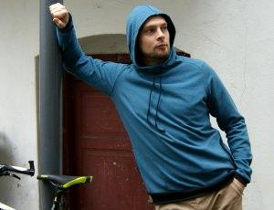 Männer-Hoodie PEDRO  Sweat Gr. L petrol Baumwolle Kapuze Taschen Kordel handgenäht