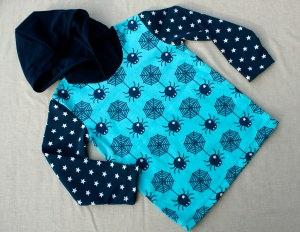 Kapuzenshirt STERNCHEN-SPINNEN Jungen 98/104 Hoodie Kapuze Sterne Spinne blau türkis Jersey Baumwolle frech cool