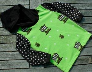 Kapuzenshirt WIKINGER grün Gr. 104 Sterne braun weiß Kapuze Hoodie Jersey Baumwolle cool lässig