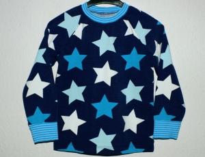 Langarmshirt MEGA-STARS Gr. 98/104 Kind blau türkis weiß cool lässig - Handarbeit kaufen