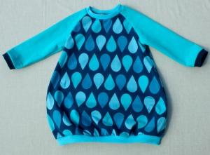 Babykleid TROPFEN Gr. 74/80 blau türkis mint Ballonkleid handgenäht