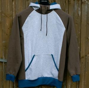 Männer- Hoodie ERICH braun Sweatshirt  Gr. M Baumwolle Sweat angeraut jeans