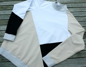 leichter Männer-Pullover SANDSTRAND  Gr. M beige weiß schwarz Baumwolle Sommersweat colourblocking Stehkragen