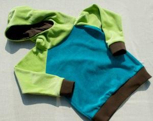Baby- Hoodie Nicki  Kiwi-Petrol-Braun Gr. 86/92 - Handarbeit kaufen