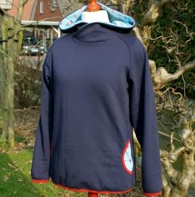 Hoodie LEUCHTTURM Baumwoll-Sweat Gr.40/42 blau Sommer-Sweat maritim lässig bequem Unikat dunkelblau Taschen Longshirt Kapuze - Handarbeit kaufen