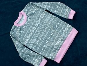 Langsrmlshirt NORWEGER Mädchen Gr.98 Baumwoll-Interlock  - Handarbeit kaufen