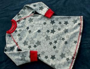 kuscheliges Sweat-Kleid STERNE  grau rot Gr. 98/104