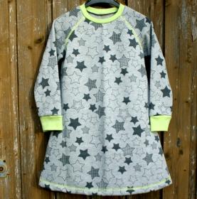 kuscheliges Sweat-Kleid STERNE Mädchen grau gelb Gr.110/116 Baumwollsweat
