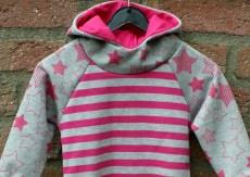 Hoodie STERNE + STREIFEN Baumwollsweat pink Gr.86/92