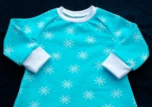 Baby - Kleid SCHNEEFLOCKEN  Sweat Gr.80 türkis weiß