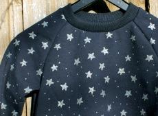 Kinderkleid STERNENHIMMEL Bio-Sweat Gr.104 und 116 dunkelblau silber Glitzer
