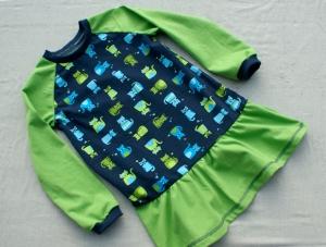 Mädchen-Kleid KATZENPARADE grün Gr.104