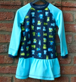 Mädchen-Kleid  KATZENPARADE  türkisblau Gr.104 Volant Baumwolle Jersey dunkelblau  - Handarbeit kaufen