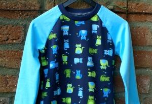 Mädchen-Kleid  KATZENPARADE  türkisblau Gr.104 Volant Baumwolle Jersey dunkelblau witzig