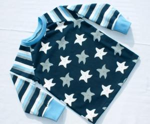 Langarmshirt SEESTERNE für Kinder Gr. 92 blau weiß maritim  - Handarbeit kaufen