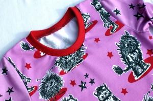 Mädchen-Kleid MONSTER-PRINZESSIN pink Gr.104 Volant Baumwolle Jersey frech