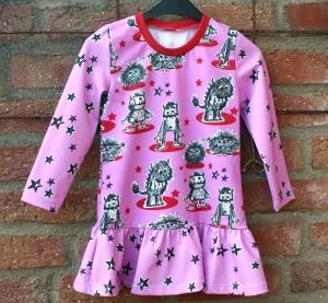 Mädchen-Kleid MONSTER-PRINZESSIN pink Gr.104 Volant Baumwolle Jersey frech - Handarbeit kaufen