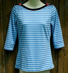 Shirt STREIFEN hellblau weiß  U-Boot-Ausschnitt Bio-BW Gr.S 3/4 Ärmel GOTS maritim  - Handarbeit kaufen