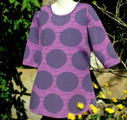 Longshirt Tunika GROSSE KREISE  Gr. M lila violett Baumwolle Jersey 3/4 Arm Linien Unikat handgenäht
