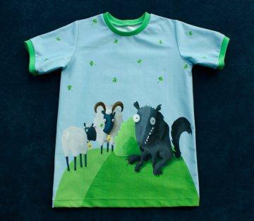 Kinder-Shirt  WOLF und SCHAFE  Gr.122/128 Baumwolle Kurzarm Jersey Digitaldruck finch Junge