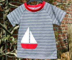 Baby Shirt  SEGELSCHIFF  Baumwoll- Piqué Gr. 86 blau weiß maritim luftig Sommer