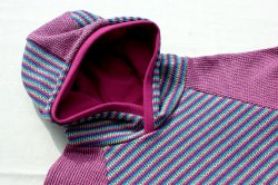 Hoodie KNIT KNIT Bio-Jacquard GOTS pink-bunt  Gr.92 Streifen Albstoffe