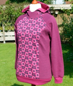 Hoodie DAISIES Baumwoll-Jacquard kbA Gr. L Albstoffe GOTS Hamburger Liebe Knit Knit pink fuchsia - Handarbeit kaufen