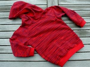 Hoodie ROT ROT Baumwoll-Sweat Ökotex Gr.116 u. 128 french terry individualisierbar Junge Mädchen