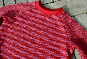 Baby Kleid KNIT KNIT STREIFEN Bio-Baumwolle Gr.80 rot rosa Albstoffe Jacquard GOTS Ballonkleid