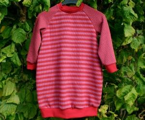 Baby Kleid KNIT KNIT STREIFEN Bio-Baumwolle Gr.80 rot rosa Albstoffe Jacquard GOTS Ballonkleid - Handarbeit kaufen