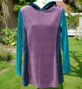 Nicki-Hoodie Longshirt Farbmix Gr.M lässig und gemütlich Tunika petrol lila blau