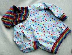 Kapuzenshirt BUNTE STERNE auf grau Streifen Regenbogen Gr.98, 104 bunt fröhlich Junge Mädchen Kind