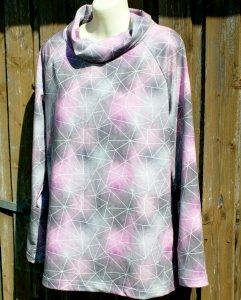 Longshirt AQUARELL Sommersweat grau rosa L Schalkragen Baumwolle weich Ökotex Standard 100 lässig bequem