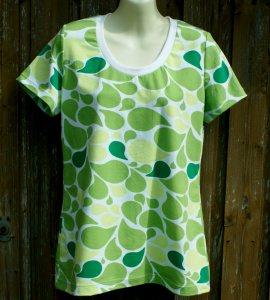 Shirt LIQUID Grün-Töne Kurzarm Gr.40 Baumwolle Jersey Sommer ausgefallen weiß