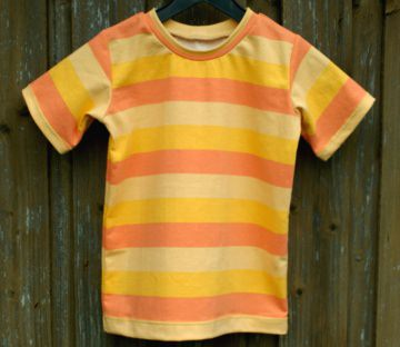 Kinder Shirt SONNENSCHEIN gelb orange Gr.104 Blockstreifen Kurzarm Unikat Baumwolle Jersey Sommer Partnerlook