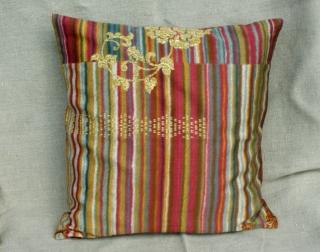´Kissenbezug HERBST braun rot gold 40x40 cm Bassetti-Stoff Reißverschluss  Baumwolle Satin Streifen